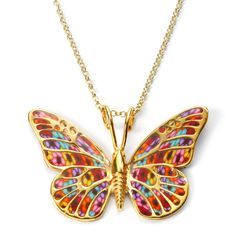 Handcrafted Gold and Millefiori Butterfly Necklace: 149.99