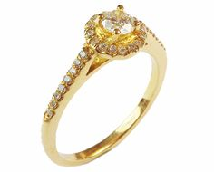 Diamond Ring, Engagement Ring, Halo Ring, Cathedral Ring, 14K Yellow ring, Certificate Estimated Retail Price: $ 1950.- IGL Report included Setting: Metal Type: 14 Yellow gold Gold Weight: 2.55 gram Setting type: 4 prongs, halo design Center stone: Stone type: Natural Diamond Diamond Weight: 0.25 carat Color: H Clarity: SI-1 Cut: Very Good Side stones: Stone type: Natural Diamonds Diamond Together weight: 0.14 carat Color: G-H Clarity: VS-SI Cut: Very Good to Excellent This ring comes wi...