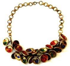 Vintage 1930s Miriam Haskell Style Sapphire Ruby Emerald Glass Bead Gilded Brass Bells Necklace /275