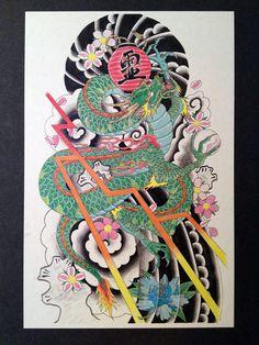 Japanese dragon by Robert Hutchinson, via Behance