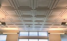 White Mission Ceiling Tile 2' x 2'   At Adjutant General's Office for the SD National Gaurd   CeilingConnex Mission Ceiling Tiles   Beautiful and easy to install yourself.
