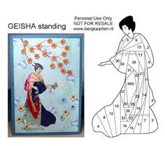 Geisha with cherry blossoms Iris Folding Templates, Iris Paper Folding, Iris Folding Pattern, Japanese Quilt Patterns, Paper Piecing Patterns, Card Patterns, Paper Cards, Folded Cards, Kimono Origami