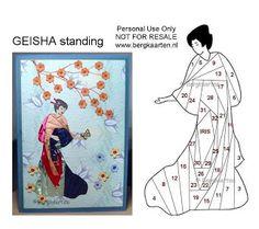 Geisha Standing Iris Fold Card