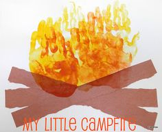 Campfire craft! Orange, yellow, and red paint with strips of brown construction paper
