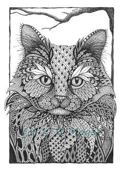 Cat impressions dessin Portraits-encre - différents styles