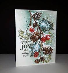 Happy Holidays from Penny Black Cas Christmas Cards, Painted Christmas Cards, Create Christmas Cards, Watercolor Christmas Cards, Christmas Paper Crafts, Christmas Drawing, Watercolor Cards, Christmas Art, Holiday Cards