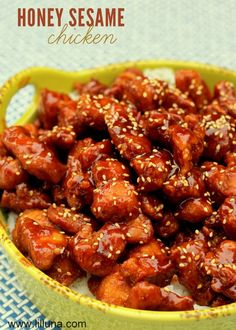 Honey Sesame Chicken Recipe on { lilluna.com }. This is a new favorite!