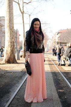 Milan Fashion Week Long pink