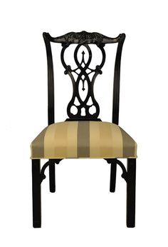 Lacquered Chinese Chippendale dining chair. Solid mahogany with exquisite hand carved details. Available in any finish and fabric!