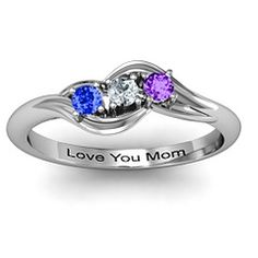 Three Birthstone Swirl #Mothers #Ring. Choose your personalized engraving and choose your #birthstone #gemstone $109.00