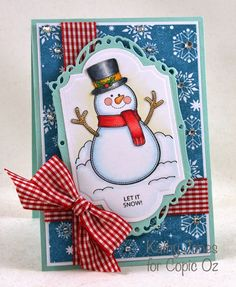 Cathy Jones: Inspired to Stamp: Do You Want To Build A Snowman? - 7/23/14 (JustRite stamps)
