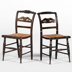 Hitchcock-Style Side Chairs with Eagle and Globe Splat (4/12/2014 - Americana: Live Salesroom Auction)