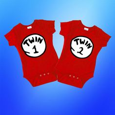 Twin 1 or Twin 2 BodysuitThing One Thing Two Matching Twins Twin Baby Gifts, Twin Baby Boys, Twin Babies, Twins, 2nd Baby Showers, Twin Outfits, Matching Shirts, Thing 1 Thing 2, Baby Shower Gifts