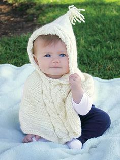 Knitting pattern for Teeny Poncho with hood