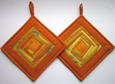 Handmade Patchwork Orange Pot Holders Hot by DzintrasPatchworkArt