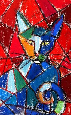 Cubist Colorful Cat Painting by Mona Edulesco