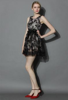 Butterflies Patching on Tulle Black Dress - New Arrivals - Retro, Indie and Unique Fashion