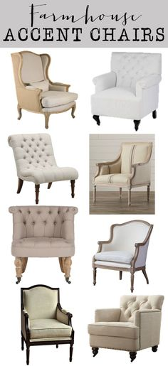 Friday Favorites: Farmhouse Accent Chairs - House of Hargrove.  Neutral, Linen, Tufted, beautiful accent chairs.