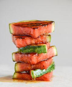 Perfect for summer BBQs. Honey Grilled Watermelon Caprese Salads I via How Sweet Eats