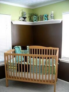 Boy Nursery...This is my inspiration for Bryant's nursery except the paint colors will be switched....brown on top and a robins egg blue on bottem