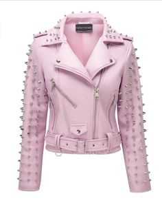 f08101d9f600 New Woman Baby Pink Brando Punk Full Metal Spiked Studded Unique Leather  Jacket XS to Size Available handmade Stuff Studded Jacket made with 100 %  Genuine ...