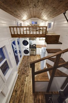 Rustic Loft -- A luxury 273 square feet tiny house on wheels built by Mint Tiny Homes in British Columbia, Canada. | pinned by haw-creek.com (Step Stairs Tiny Homes)