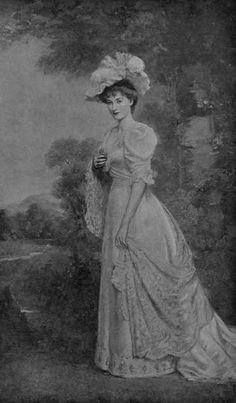 Duchess Gwendolen of Norfolk, Constable-Maxwell family, Fitzalan-Howard family, Duchess, British, straight coiffure, floral hat, high enclosing neckline, elbow length upper puffed sleeves, cuffs, waist band, shallow-vee waistline, close skirt, wrap, lace