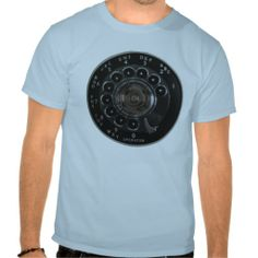 Vintage Rotary Phone T-Shirt--Believe it or not, there was a time when phones didn't have to be smart. They weren't expected to text, email, tweet, or surf the interwebs. Their portability was directly proportional to the length of their cord. We didn't need stinking buttons to push. We had a rotary dial! #Phone #Vintage #Retro #Hipster #Rotary #Mid-century #Zazzle