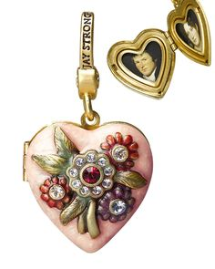 WOW must see this rare gorgeous Jay Strongwater Miranda Heart Locket Charm Pendant w/hand enameled flowers & swarovski crystals! use off coupon Locket Charms, Heart Locket, Pandora Charms, Lockets, Pandora Jewelry, Wedding Decor, Wedding Fun, Jay Strongwater, Fashion Jewelry