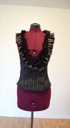 Black Up cycled repurposed pin striped vest with lots of ruffles size small dark fashion. $22.00, via Etsy.