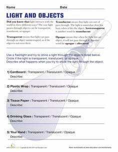 Worksheets: Transparent Translucent Opaque