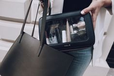 Travel essentials for life on-the-go🖤 Get through airport security hassle-free with our clear travel case✈️ Best Travel Gifts, Travel Bag Essentials, Cosmetic Pouch, Carry On Luggage, Travel Makeup, Jewelry Case, Leather Accessories, Airport Security, Gym Bag