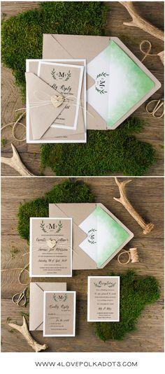 Eco Kraft Brown Grey paper wedding invitations with green watercolor printing #weddingideas #eco #ecofriendly #green #wood #birchbark #wedding #rustic #country