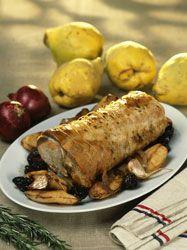 Rôti de porc aux coings, pommes, pruneaux