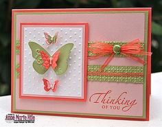 love the punched butterflies and the simple lines on this card