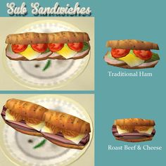 Mod The Sims - New Sub Sandwiches: Roast Beef Cheese and Traditional Ham Sub Lobster Thermidor, Sims 4 Kitchen, Sims 4 Traits, Sims 4 Cc Kids Clothing, Sims 4 Clutter, Sunday Dinner Recipes, Sims 4 Dresses, Sims Four, The Sims 4 Download