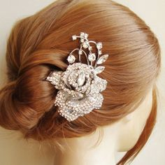Hey, I found this really awesome Etsy listing at https://www.etsy.com/listing/82309649/crystal-rose-bridal-hair-comb-bridal