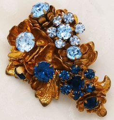 Miriam Haskell Pin Sapphire Baby Blues Cascade of Flowers Horseshoe Mark Signed