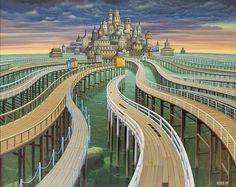 . . Nascido na Polônia em 1952, Jacek Yerka estudou artes plásticas e gráficas antes de se tornar um artista em tempo integral em 1980. A atmosfera pastoral da zona rural polaca fornece uma base só…