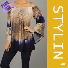 TIE DYED BELL SLEEVE TUNIC Beautiful and soft, tie dyed tunic in navy, gold and taupe. Bell sleeves, elastic neckline so it can be worn on or off shoulder. Polyester/spandex. PLEASE DO NOT BUY THIS LISTING, I will personalize one for you. tla2 Tops Tunics