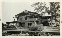Greene and Greene's Gamble House under construction. Courtesy of The Greene and Greene Archives, USC, at the Huntington Library, Art Collections and Botanical Gardens. San Gabriel Mountains, San Gabriel Valley, Altadena California, California History, Southern California, Gamble House, House Under Construction, Prairie House, Craftsman Bungalows