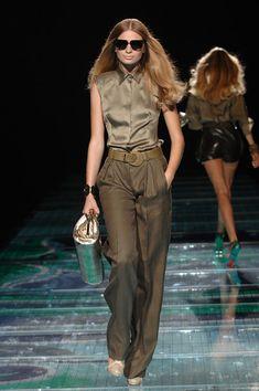 Versace at Milan Fashion Week Spring 2008 - Runway Photos Skirt Pants, 2000s, Milan Fashion, Versace, Branding Design, Runway, Jumpsuit, Spring, Board