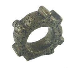 African Charms / Akan Gold Weight - Gear Form / Trinket, unique good luck charm / Akan people old curency / African art