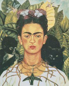 """""""Autorretrato com Colar de Espinhos e Beija-flor"""",de FRIDA KAHLO  As pinturas de Frida Kahlo são frequentemente consideradas surrealistas, por serem carregadas de simbolismo. Não obstante, a artista negou ser classificada de tal maneira porque, de acordo com ela mesma, pintava sua realidade pessoal e não seus sonhos."""