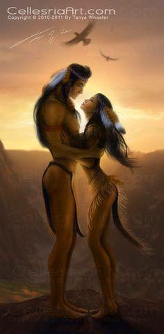 Native American Art. Couple