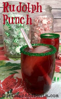 Rudolph Punch. My kids' favorite drink for Christmas parties. Non-alcoholic. | http://DuctTapeAndDenim.com