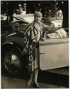 Model wearing coat designed by Sonia Delaunay, 1926–27, Bibliothèque Nationale de France