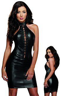 Faux Leather Halter Dress