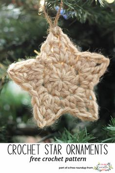 Get the free crochet pattern for these crochet star christmas ornaments from Persia Lou featured in my crochet christmas party FREE pattern roundup!