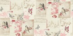 Songbird (11264) - Albany Wallpapers - A romantic shabby chic patchwork design with Songbirds, music sheets and butterflies. Shown here in cranberry pink and sepia cream - more colours are available. Please request a sample for true colour match.